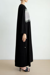 Colour block Abaya with uneven crystal line embroidered seam and pleats detail