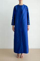 Overlap taffeta abaya with tassle embellished sleeves