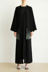 Green stems thread crystal embroidered flap abaya
