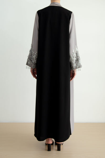 Asymmetric piped collar abaya with embellishment