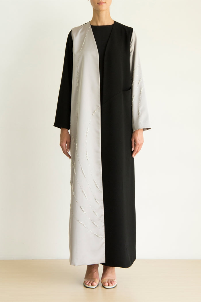 Grey Satin and black color block abaya with galaxy crystal embroidery and concealed pocket detail