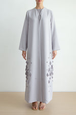 Notch abaya with petal fabric manipulation detail