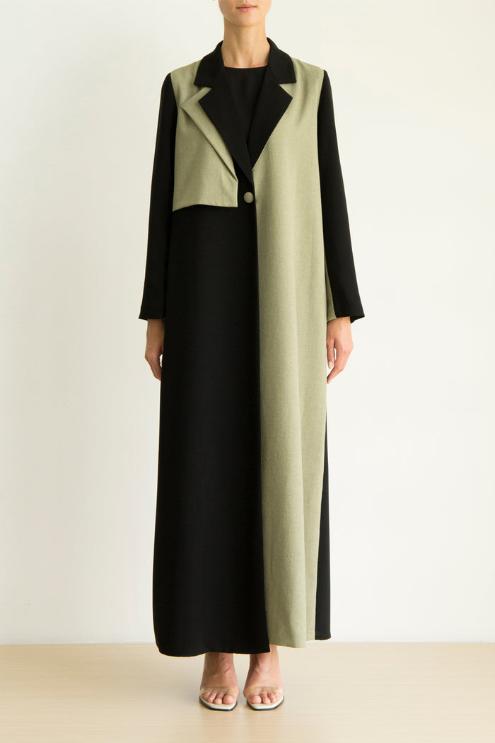 Olive green and black color block Abaya with flap collar detail