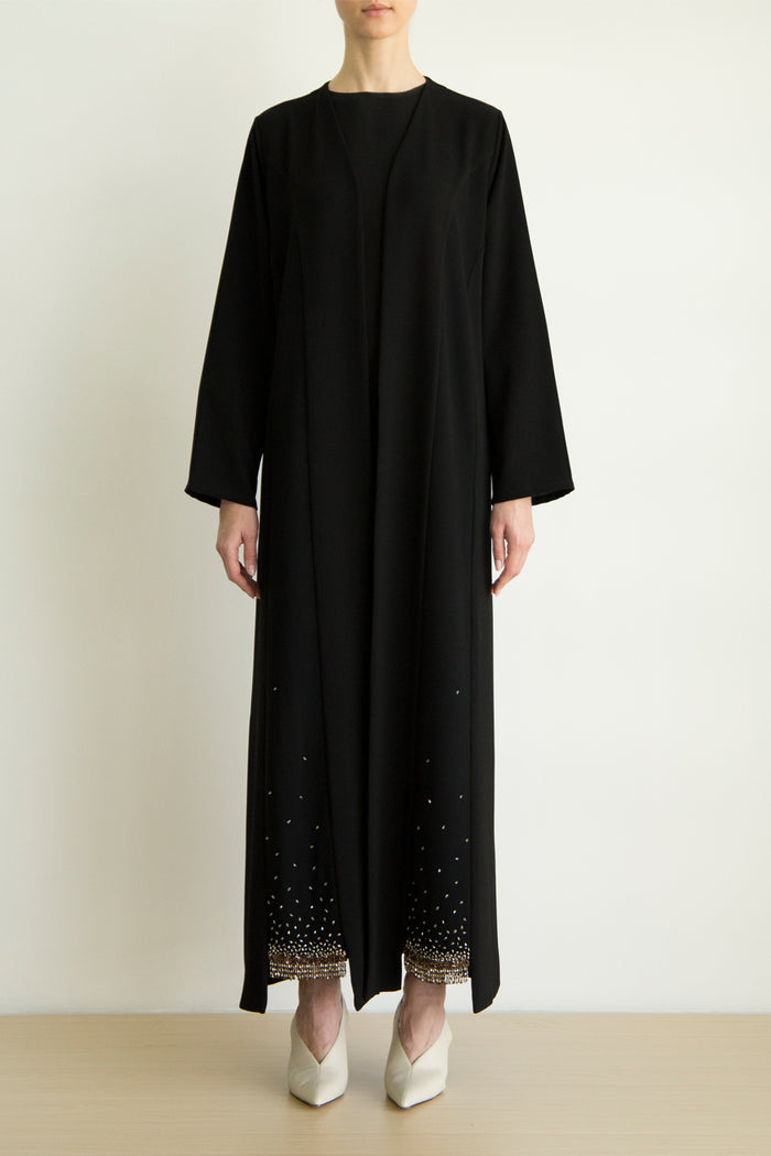 Paneled abaya with brown tassel fade crystal embroidery detail