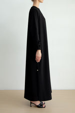 Overlap abaya with petal fabric manipulated sleeves