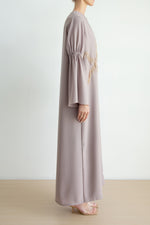 Classic colored embellished abaya with semi gathered sleeve detail