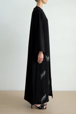 Classic abaya with ragged line crystal motif embellishment