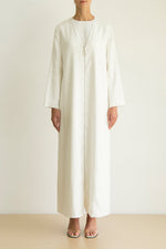 White Linen Abaya with silver zipper and coat sleeve detail