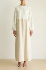 White & Beige color block abaya with embroidered sleeve detail