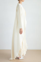 Paneled dress with layer wave organza details and high-low kimono