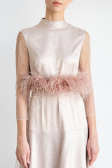 High neck lace dress with feather belt detail