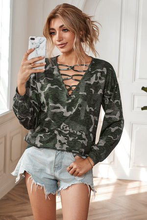 Feeling Extra Camo Top