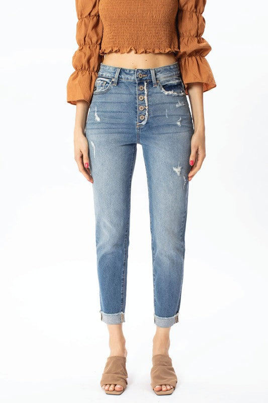 London Kancan High Rise Cropped Mom Jeans