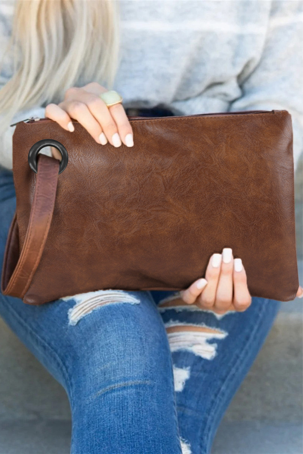 Rushing Around Clutch - Brown