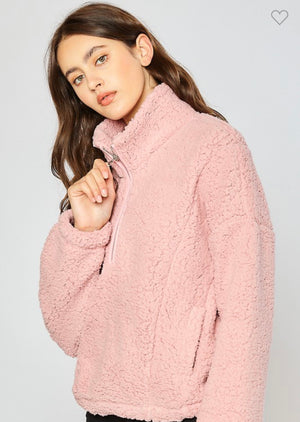 Full of Fluff Sherpa Half Zip Pullover - Mauve Pink