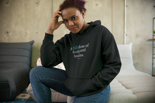 custom hoodie - beauty and brains