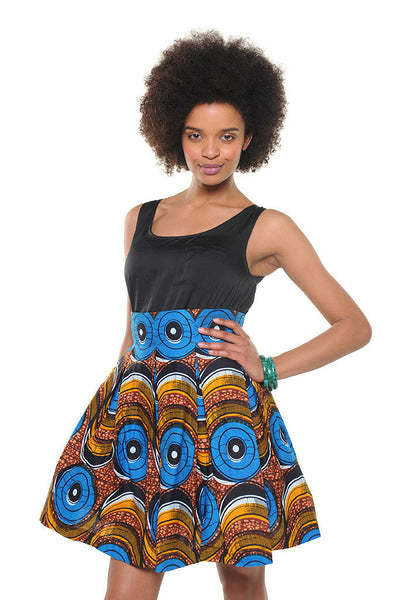 Kitenge Print Summer Pleated Skirt