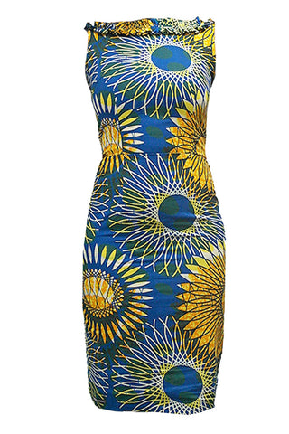 African Print Dress with Ruffle Collar