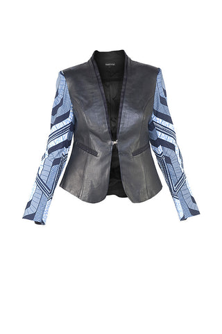 Black and Navy Leather and African Wax Print Jacket