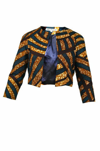 African Tribal Print Cropped Jacket