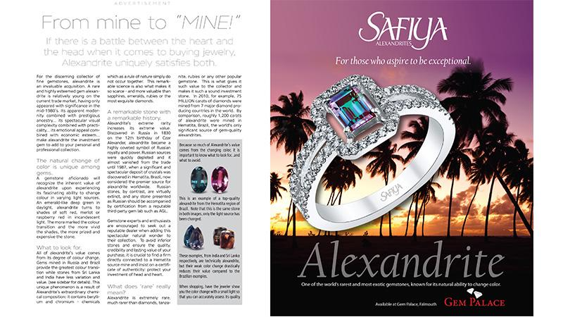 SAFIYA ALEXANDRITES ADVERTORIAL ON DISNEY CRUISE SHIP PORTHOLE MAGAZINE 2016