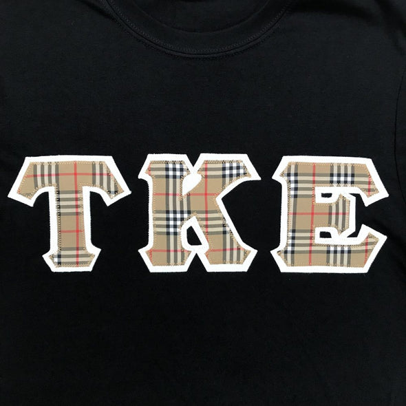 Tau Kappa Epsilon Stitched Letter T-Shirt | Burberry with White Border