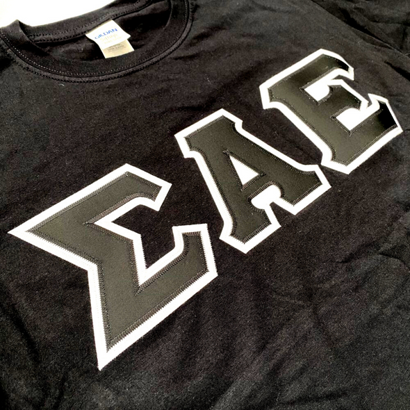 Sigma Alpha Epsilon Stitched Letter T-Shirt | Black | Black with White Border