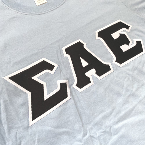 Sigma Alpha Epsilon Stitched Letter T-Shirt | Light Blue | Black with White Border