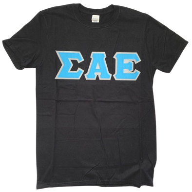 Sigma Alpha Epsilon Stitched Letter T-Shirt | Black | Cyan with Gray Border