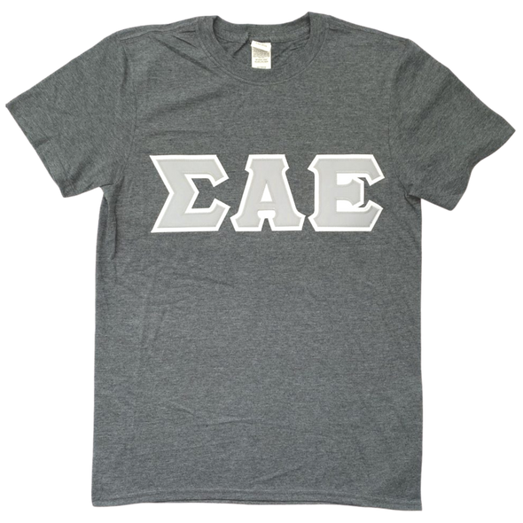 Sigma Alpha Epsilon Stitched Letter T-Shirt | Dark Heather | Gray with White Border