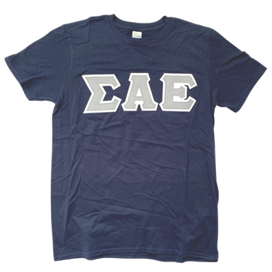 Sigma Alpha Epsilon Stitched Letter T-Shirt | Navy | Gray with White Border