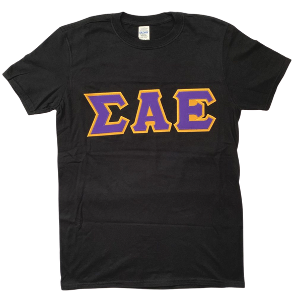 Sigma Alpha Epsilon Stitched Letter T-Shirt | Black | Purple with Gold Border