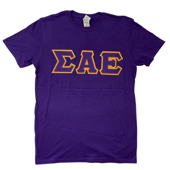 Sigma Alpha Epsilon Stitched Letter T-Shirt | Purple | Purple with Gold Border