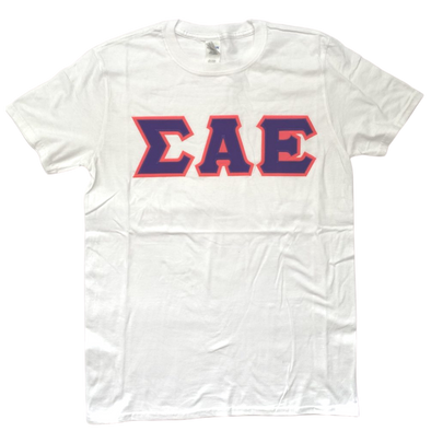 Sigma Alpha Epsilon Stitched Letter T-Shirt | White | Purple with Pink Border