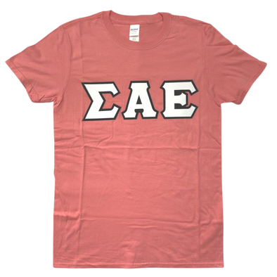 Sigma Alpha Epsilon Stitched Letter T-Shirt | Coral Silk | White with Black Border
