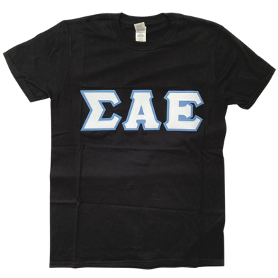 Sigma Alpha Epsilon Stitched Letter T-Shirt | Black | White with Columbia Blue Border