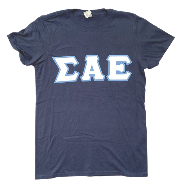 Sigma Alpha Epsilon Stitched Letter T-Shirt | Navy | White with Columbia Blue Border