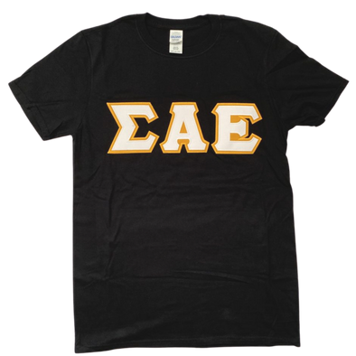 Sigma Alpha Epsilon Stitched Letter T-Shirt | Black | White with Gold Border
