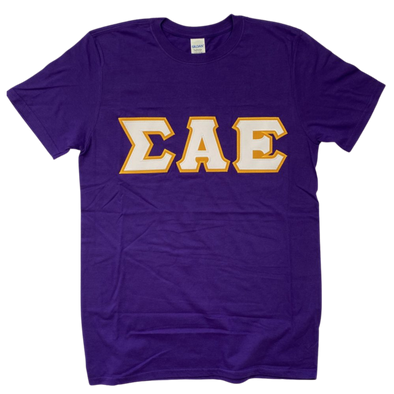 Sigma Alpha Epsilon Stitched Letter T-Shirt | Purple | White with Gold Border