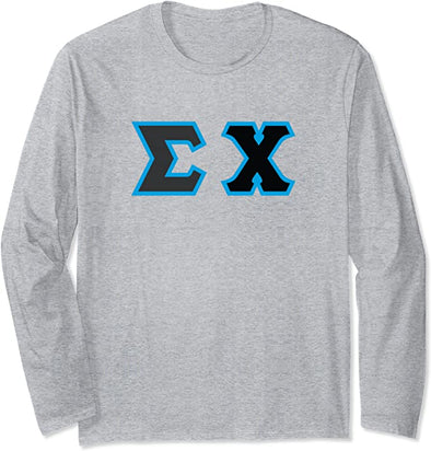 Sigma Chi Printed Letter Long Sleeve | Black with Cyan Border
