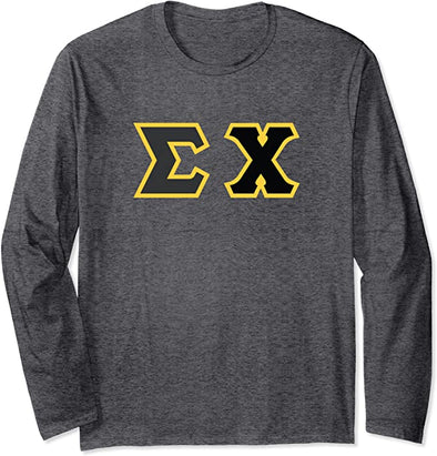 Sigma Chi Printed Letter Long Sleeve | Black with Gold Border