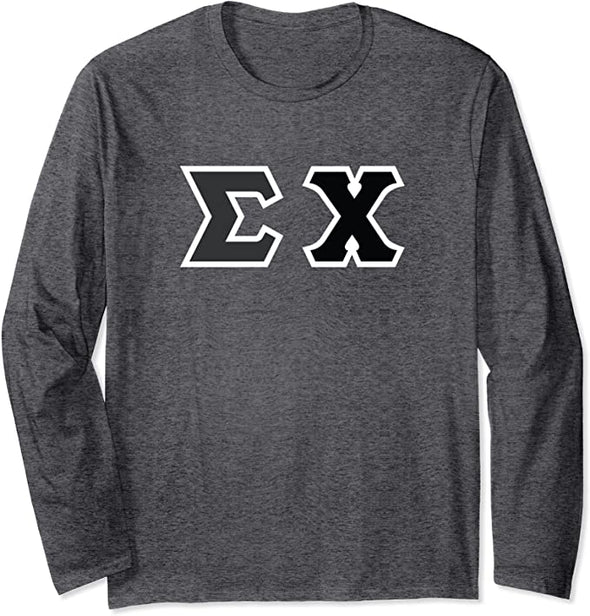 Sigma Chi Printed Letter Long Sleeve | Black with White Border