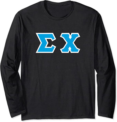 Sigma Chi Printed Letter Long Sleeve | Cyan with White Border