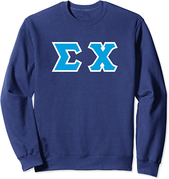 Sigma Chi Printed Letter Crewneck | Cyan with White Border