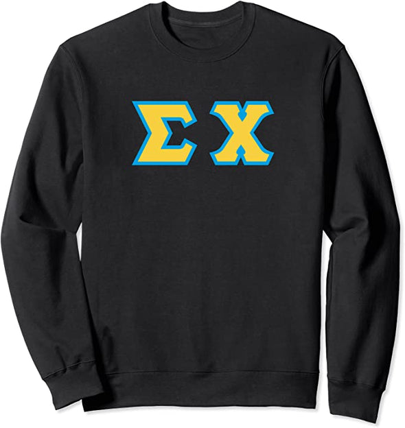 Sigma Chi Printed Letter Crewneck | Gold with Cyan Border