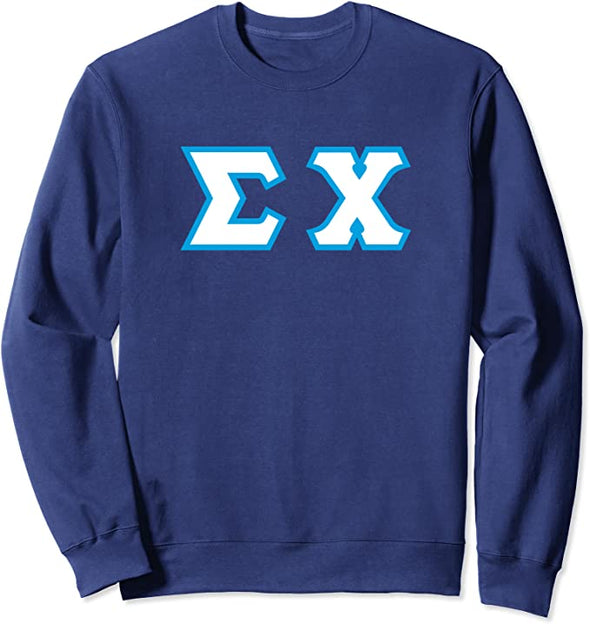 Sigma Chi Printed Letter Crewneck | White with Cyan Border
