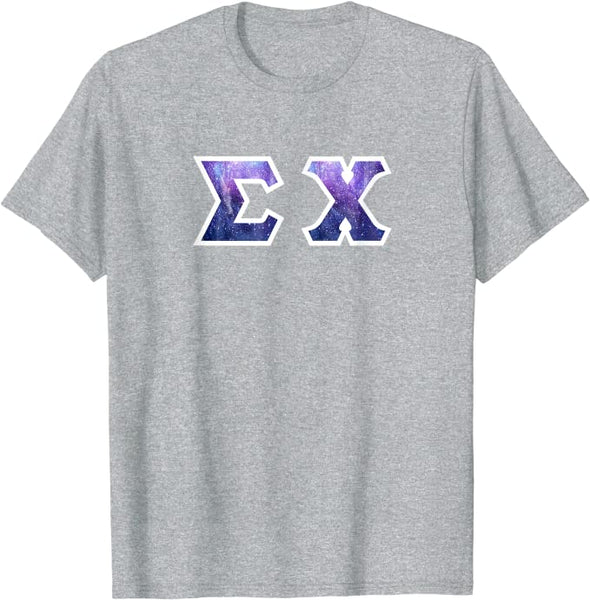 Sigma Chi Printed Letter T-Shirt | Galaxy