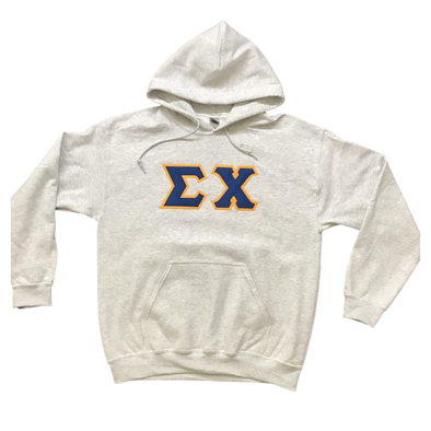 Sigma Chi Stitched Letter Hoodie | Ash | Dark Royal with Gold Border