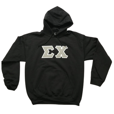 Sigma Chi Stitched Letter Hoodie | Black | Gray with White Border
