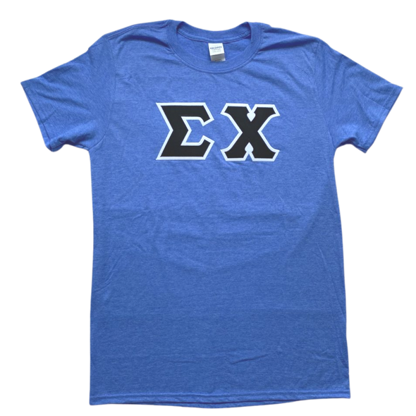 Sigma Chi Stitched Letter T-Shirt | Heather Royal | Black with White Border
